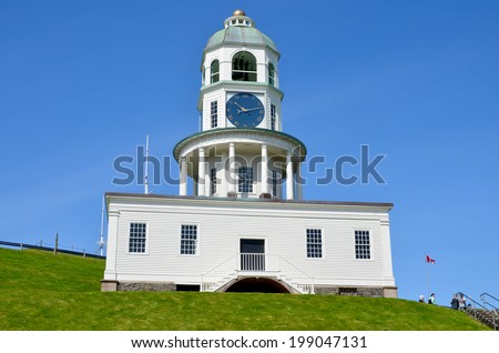 The Town Clock, also sometimes called the Old Town Clock or Citadel Clock Tower, is one of the most recognizable landmarks in the historic urban core of Nova Scotia's Halifax Canada - stock photo