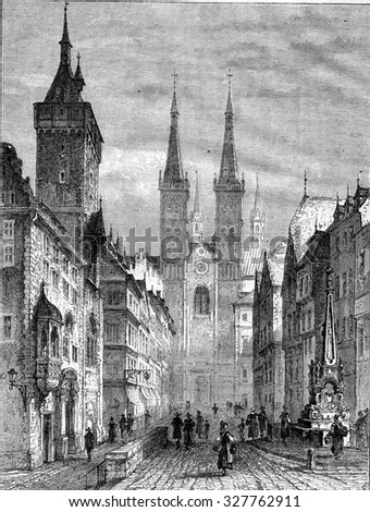 The Town Hall and Cathedral Street, in Wurzburg, vintage engraved illustration. Magasin Pittoresque 1867. - stock photo