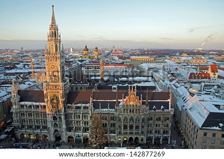 The town hall in munich - stock photo