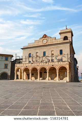 The Town Hall in the square of Montefalco, a medieval palace in Umbria, Italy