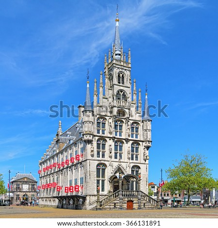 The Town Hall on the Markt square in Gouda, Netherlands - stock photo