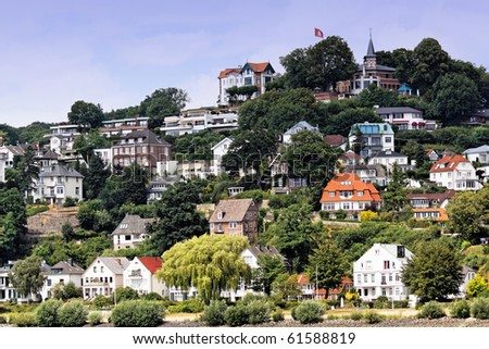 The town houses with Blankenese, area of Hamburg - stock photo