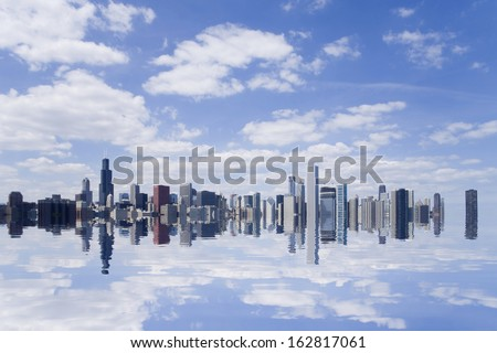 The town in Chicago reflected in the water surface - stock photo