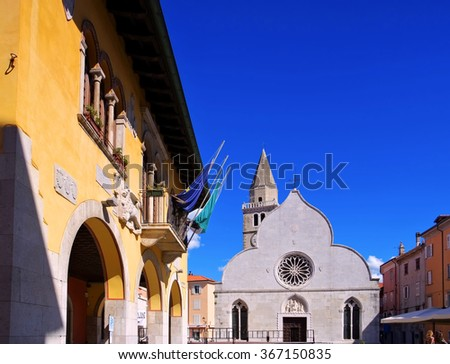 the town Muggia in Italy - stock photo