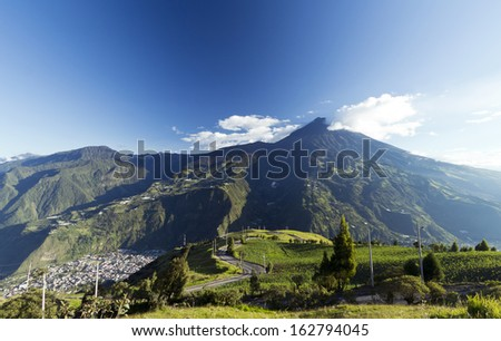 The town of Banos, beneath Tungurahua volcano in the Ecuadorian Andes - stock photo
