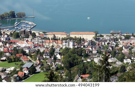 The Town of Bregenz in Austria on lake Constance