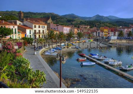 The town of Collioure, in Roussillon, south of France, in early evening - stock photo
