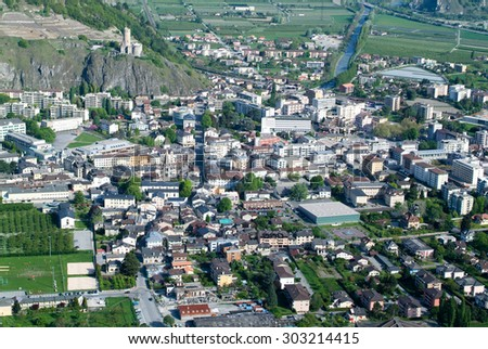 The town of Martigny on the Swiss alps