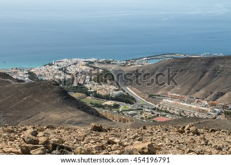 The town of Morro Jable in Fuerteventura, Spain seen from a mountain