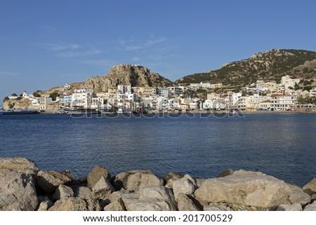 The town of Pigadia on Karpathos, Greece - stock photo