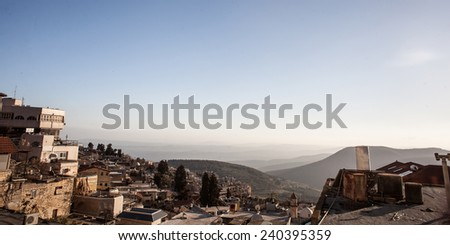 The town of Safed in northern Israel in the evening - stock photo