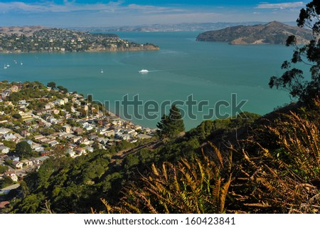 The town of Sausalito, CA. USA with Richardson Bay, Belvedere and Angle Island and San Francisco Bay in the background - stock photo