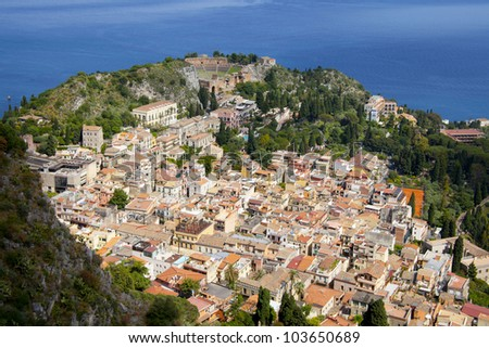 The town of Taormina, in sicily seen from the top