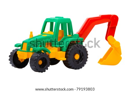 The toy tractor isolated on a white background - stock photo