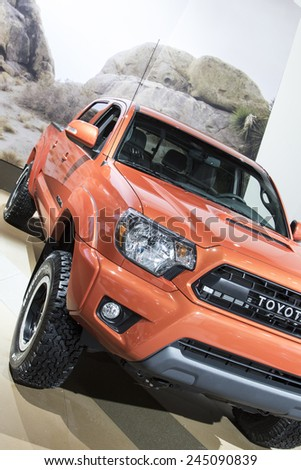 The 2016 Toyota Tacoma at The North American International Auto Show January 13, 2015 in Detroit, Michigan. - stock photo