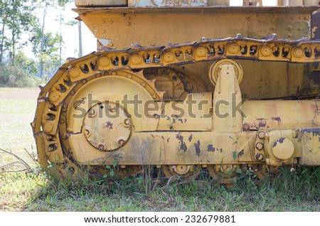 The track frames of old Crawler Tractors - stock photo