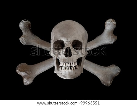 The traditional danger and warning symbol of a human skull with two crossed femur bones behind.  Used as a pirate pennant in the seventeenth and eighteenth centuries. - stock photo