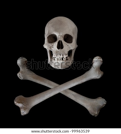 The traditional danger and warning symbol of a human skull with two crossed femur bones beneath.  Used as a pirate pennant in the seventeenth and eighteenth centuries. - stock photo