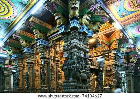 The traditional Hindu religion sculpture. Inside of Meenakshi hindu temple in Madurai, Tamil Nadu, South India. - stock photo