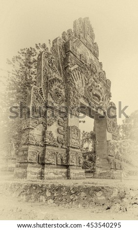 The traditional Hindu ritual gates in the Kaliklatak Plantation, Banyuwangi, Jawa island, Indonesia (stylized retro)