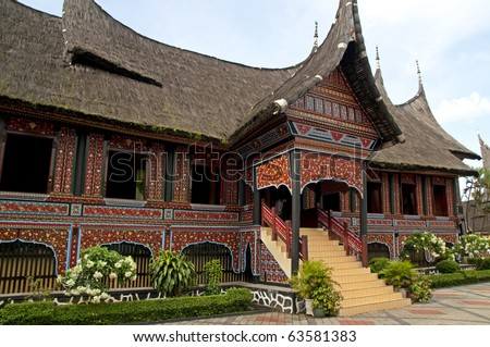 The traditional house of West Sumatra, Indonesia - stock photo