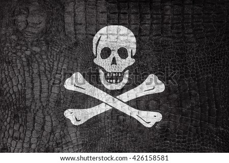 The traditional Jolly Roger of piracy Flag, on a luxurious, fashionable canvas - stock photo