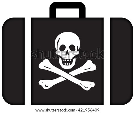 The traditional Jolly Roger of piracy Flag. Suitcase icon, travel and transportation concept