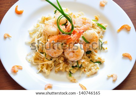 The traditional Pad Thai noodles. The most famous Thai food