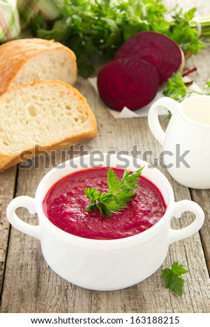 The traditional Russian beet soup. - stock photo