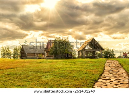 The traditional russian village in ancient town of Suzdal. Golden Ring of Russia. - stock photo