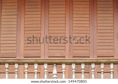 The traditional wooden balcony at 100 years old town of Chanthaburi,Thailand. - stock photo