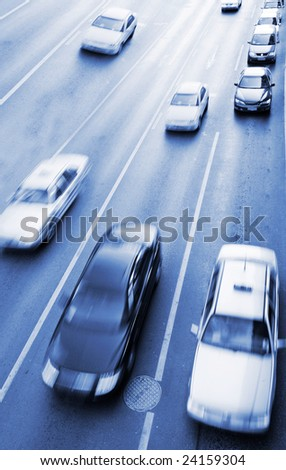 the traffic of the city . - stock photo