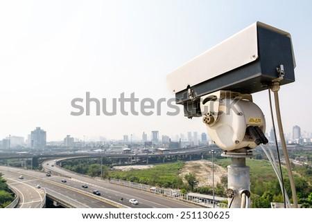 The traffic security CCTV camera - stock photo