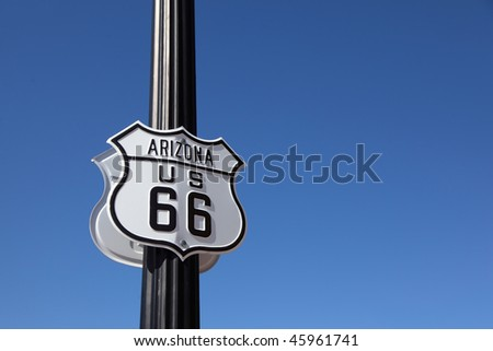The traffic sign strengthened on a metal column, Historic route 66 - stock photo