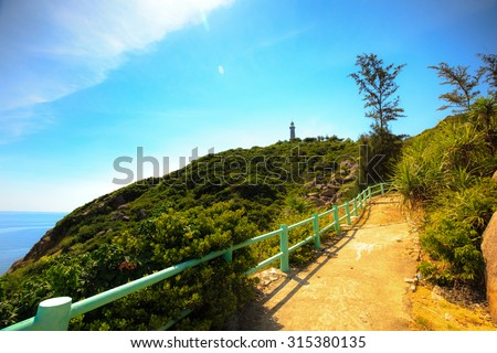 the trail leading to the lighthouse Mui Dien, Phu Yen, Vietnam