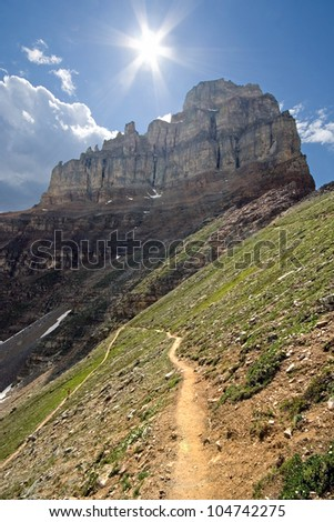 The trail that leads up Larch Valley to Sentinel Pass, Pinnacle Mountain can be seen. Near Lake Louise, in Banff national Park, Alberta, Canada A 2-1/2 hour hike to Sentinel Pass. - stock photo