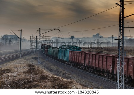 The train moves by rail road - stock photo