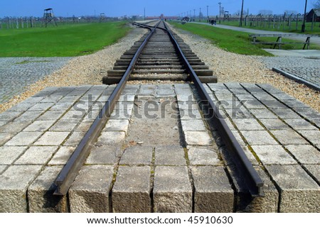 The train to death at Auschwitz concentration camp Birkenau Pola - stock photo