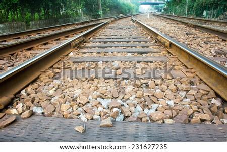 The train tracks - stock photo