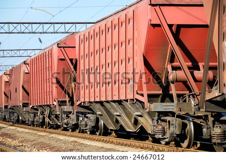 The train transportation of cargoes by rail - stock photo