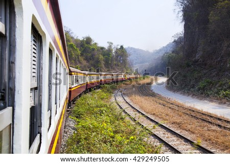 The trains were running to their destinations. - stock photo