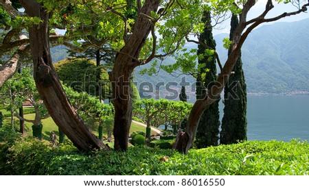 The tranquil gardens of Villa Balbianello - stock photo