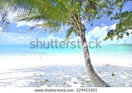 The tranquility of the beach among the sun shines, eastern Thailand. - stock photo