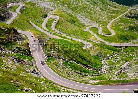 The Transfagarasan road in Romania, crossing the mountains - stock photo
