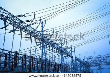 The transmission tower on blue sky background