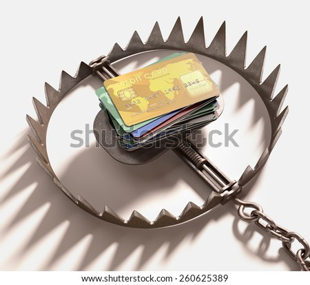 The trap of credit card with their high interest rates. Clipping path included. - stock photo