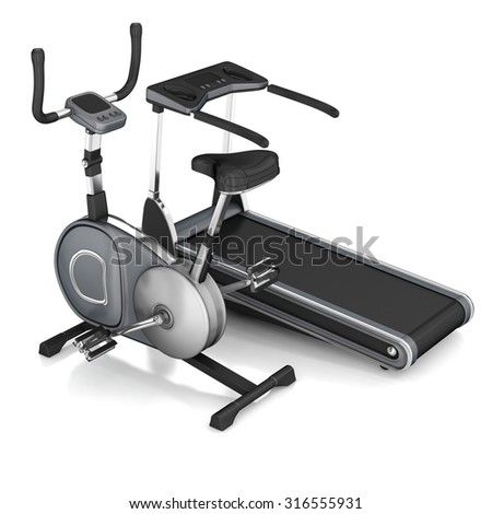 The treadmill and exercise bike - stock photo
