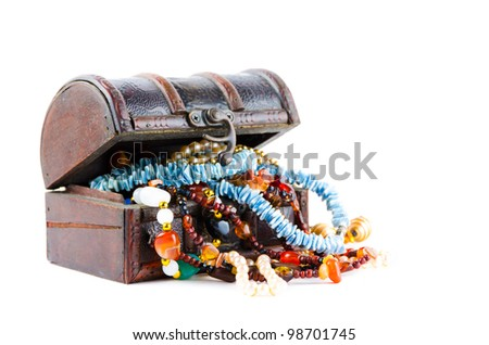 The treasure chest on a white background - stock photo