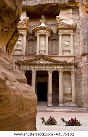 the Treasury building in Petra Jordan. - stock photo
