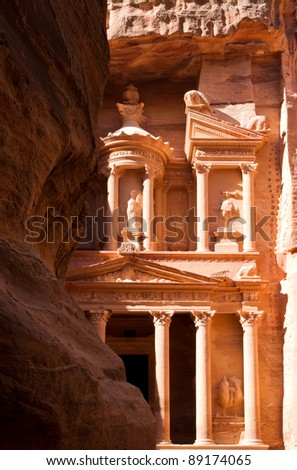 The treasury in the ancient nabbatean city of Petra in todays Jordan as seen when leaving the Siq. - stock photo